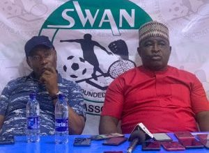 L-R Kingsley Okereke, Technical Representative on the board of the Shooting Sports Federation of Nigeria and President, Commodore Olatunji Bamidele during a press conference with journalists in Ilorin on Sunday at the ongoing 6th National Youth Games (NYG)